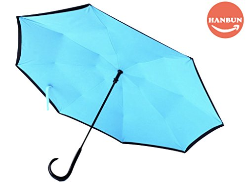 HANBUN J Hook Reverse Folding Double Layer Inverted Umbrella and Self Standing Inside Out Rain Protection Umbrella J shaped Hands Free Handle HU017 (BLUE)