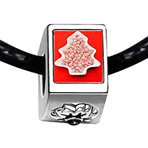 Chicforest Silver Plated christmas tree Photo Black Crystal Flower Charm Beads Fits Pandora Charm Bracelet