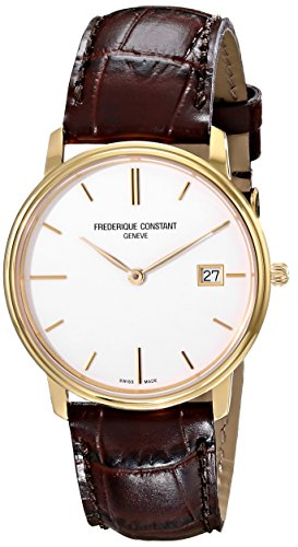 Frederique Constant Men's FC220NW4S5 Slim Line Analog Display Swiss Quartz Brown Watch