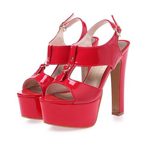 BalaMasa Ladies T Strap High-Heels Patent Leather Sandals Red Ocv0bnB