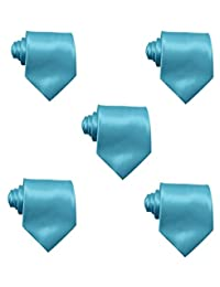 Mens Solid Satin 3.9 Inch Wide Formal Necktie Pack 5 For Wedding By JAIFEI (Turquoise)