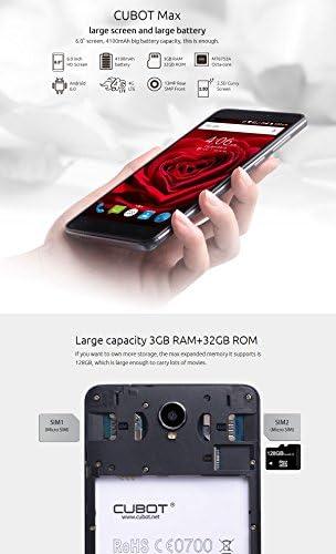 Cubot Max - Smartphone libre Android 6.0 (teléfono grande de 6.0 (15,2cm) y pantalla IPS HD, 4G Dual SIM (Micro Sim), octacore de 64 bits 1.3 GHz, 3GB de RAM, memoria