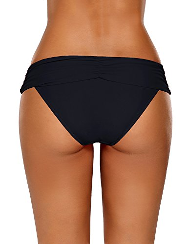 GRAPENT-Womens-Ruched-Waistband-Moderate-Bikini-Bottom-Swimming-Swimsuit-Shorts