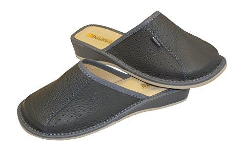 Bosaco Donna Comfort Pantofole Pelle Chiusa Dita Delle Signore Slip On House Scarpe Grafite