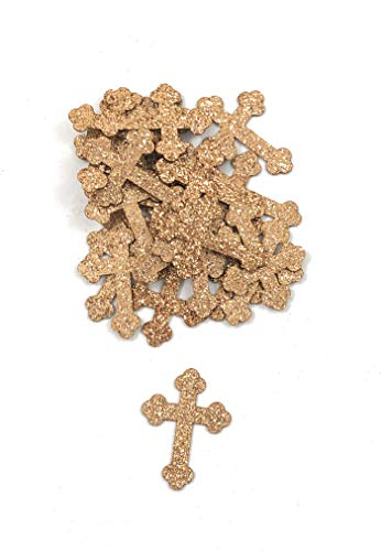 Rose Gold Glitter Cross Confetti - 100 Pieces