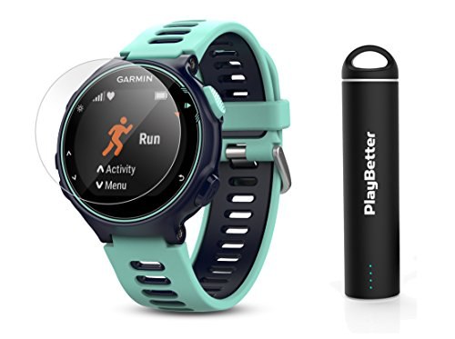 Garmin Forerunner 735XT (Frost Blue) Power Bundle | Includes HD Glass Screen Protectors (x2) & PlayBetter Portable Charger | Multisport GPS Training Watch by PlayBetter