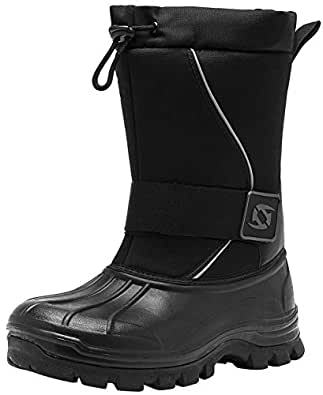 Leisfit Mid Calf Mens Winter Boots Slip Resistance Hiking Ankle Fur Snow Boots for Men Black 7.5