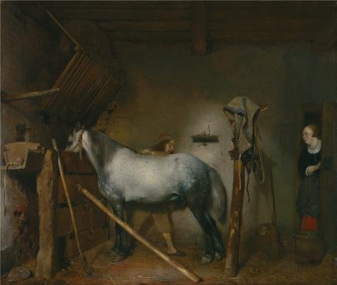 Oil Painting 'Horse Stable, About 1652-1654 By Gerard Ter Borch', 10 x 12 inch / 25 x 30 cm , on High Definition HD canvas prints is for Gifts And Bar, Basement And Bath Room (Brass Lighthouse Bookends)