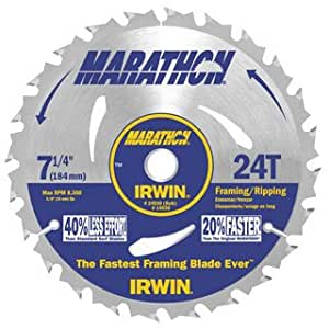 "75 Pack Irwin 24030 Marathon 7-1/4"" x 24-Tooth Framing and Ripping Circular Saw Blade Bulk"