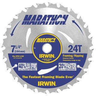 "Irwin Marathon 24030 7-1/4"" 24T Marathon Portable Corded Circular Saw Blades"