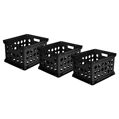 STERILITE File Crates, 3 Pack, Black by STERILITE
