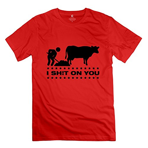 Yongth Men's I Shit On Cow 100% Cotton T-Shirt - Cool Style T Shirts Red US Size L