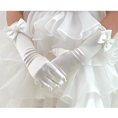 Tandi Favorite Girls Gorgeous Satin Fancy Stretch Dress Formal Pageant Party Long Gloves (Large, (White Gloves Kids)