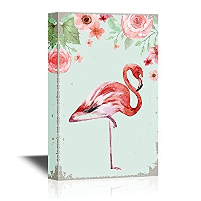 Canvas Wall Art - Watercolor Flamingo Standing on One Leg with Flowers - Gallery Wrap Modern Home Art | Ready to Hang - 12x18 inches
