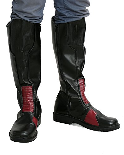 Men Reverse Flash Cosplay Boots Shoes Costume Black PU Accessories Male US10 by Hotwinds