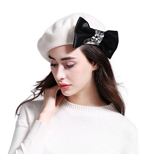 Embellished Appliqued (JOOWEN Women's Franch Inspired Wool Felt Beret Hat Bow/Rivet/Floral Appliqued (Bow-White))