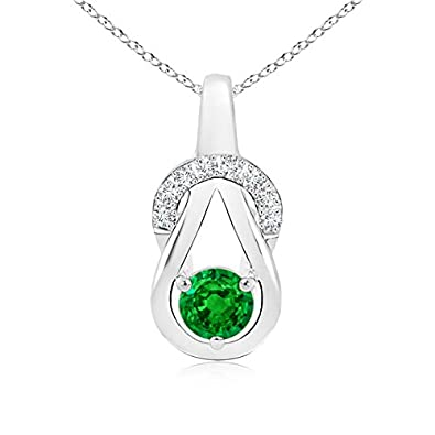 Angara Infinity Knot Natural Emerald Solitaire Pendant for Her in Platinum yNy03
