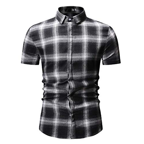 Shirt Button Down Plaid Short Sleeve Work Casual Shirt Top Blouse Men (L,Red Black)]()