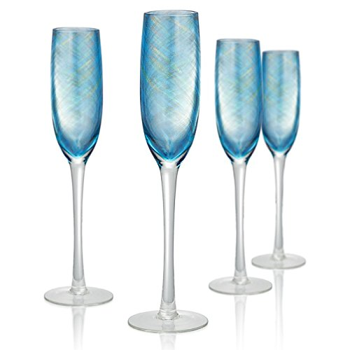 Artland 14722B Misty Flute Glass, Set Of 4, 5 oz, Aqua