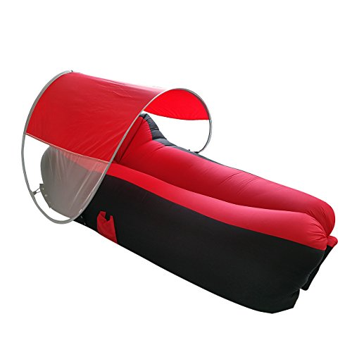(Juvale Inflatable Outdoor Lounger Hammock - Nylon Sun Tanning Lounge Chair Sofa Couch with Sun Shade for Pool, Camping, Beach, Includes Carry Bag, Black and Red, 78.74 x 33.46 x)