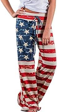 Comeon Womens Casual Wide Leg Pajama Lounge Pants Floral Print Drawstring Comfy Long Palazzo Pants Trousers