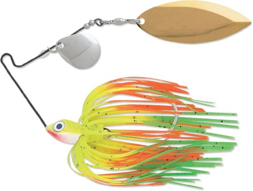 Terminator Super Stainless Spinnerbait-Colorado/Willow, Nickel/Gold Blade (Hot Tip Chartreuse, 3/8-Ounce)