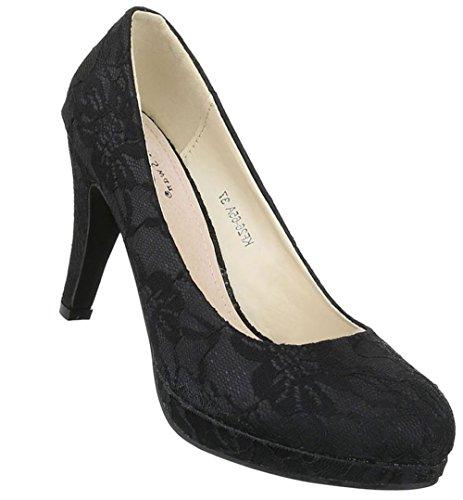 Damen Pumps Schuhe High Heels Stöckelschuhe Stiletto Plateau Schwarz 36 37 38 39 40 41 Schwarz