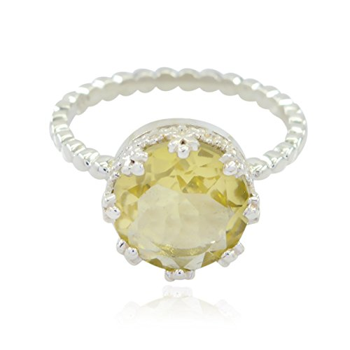 (Natural Gemstone Round Faceted Lemon-Quartzs Rings - Silber Yellow Lemon-Quartzs Natural Gemstone Ring - Now Trending Items Gift for Fathers Day Stacking Ring -US)