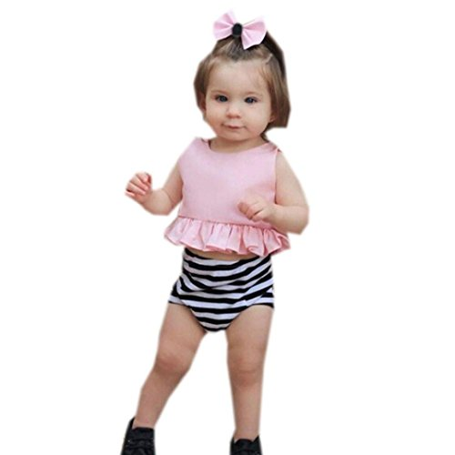 3c543ad2a13 Moonker 3Pcs Infant Baby Girls Sleeveless Tops Vest + Stripe Shorts+Headband  Set Clothes Outfit