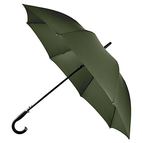 LifeTek Kingston 54 Inch Umbrella Automatic Open Extra Large Full Size Windproof Frame 210T Microfiber Fabric with Teflon Rain Repellant Protection (Green) (68