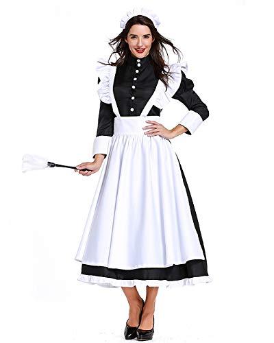 mewow Halloween Costume Women's French Maid Cosplay Uniform Housemaid Role Play Midi Dress (US -