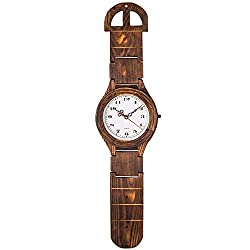 BEW Vintage Wall Clock, Creative Wood Wrist Watch Clock, French Art Decoration, Battery Operated Silent Quartz Movement for Living/Dining/Bedroom/Kitchen (8 Inch)