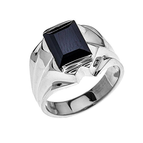 Men's 10k White Gold 4 Carat Black Onyx Bold Solitaire Ring (Size 8.5)