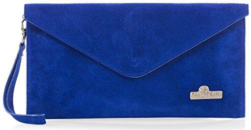 z soirée LIATALIA clair Violet en Bleu suède Électrique 'Leah' Soldé Pochette italien enveloppe clutch de style EvOq7Fvr