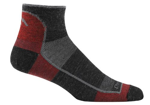 Darn Tough Vermont Men's 1/4 Merino Wool Ultra-Light Athletic Socks, Team DTV, Large (10-12)