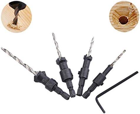 4PCS 4-10mm Wood Drill Hexagonal Reamer Woodworking 5 Flute HSS Countersink Drill Bit Set Carpentry Tool Power Hand Tools Gift for Carpenter Tool Set