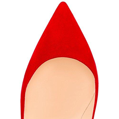 MERUMOTE - tacón fino alto mujer Red-Faux Wildleder