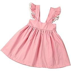 Baby Summer Dress, METFIT Kids Girl Sleeveless Cotton Harness Princess Dress (Size:4T)