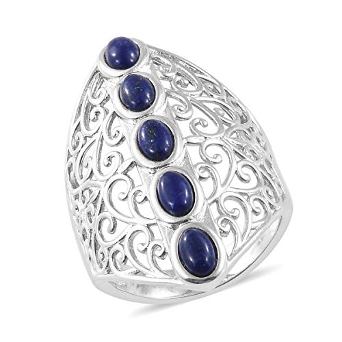 Shop LC Delivering Joy Platinum Oval Lapis Lazuli 5 Stone Openwork Elongated Statement Ring for Women Jewelry Gift Size 8 (Crystal Clock Simon)