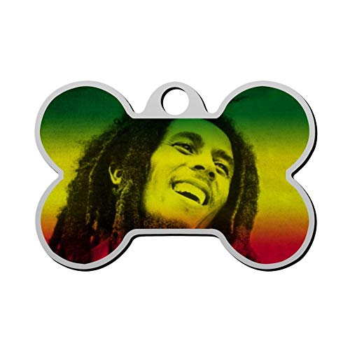 BSARRE Personalized Pet ID Tags for Dogs & Cats Bob-Marley Double Sided Bone Dog Tag (Ae Sonnenbrille)