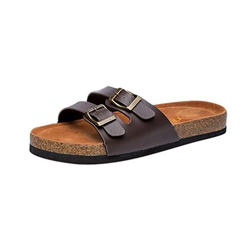 ZKOO Plantare Infradito Marrone Donna Pantofole Sandali Spiaggia Scarpe Regolabile con Pantofole Bassi Cinturino di Peep Toe Sughero rWraBnP