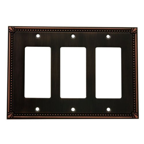 Cosmas 44095-ORB Oil Rubbed Bronze Triple GFI / Decora Rocker Wall Switch Plate Switchplate (Triple Gfi Switchplates)