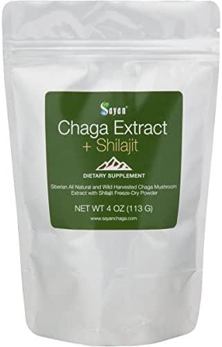 Sayan Siberian Chaga Mushroom Extract with Shilajit Powder 4Oz/113g –Powerful Antioxidant Fulvic Acid Supplement –Immune System Health Booster, Inflammation Reduction +All Natural Yeast Support