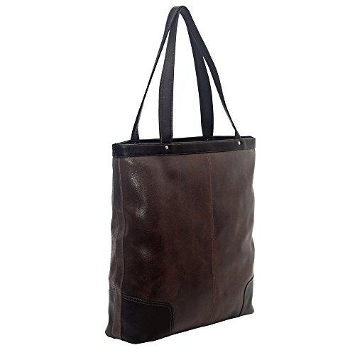 Piel Leather Vintage Vertical Tote, Vintage Brown, One Size