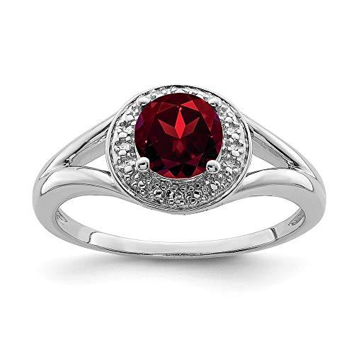 - Mia Diamonds 925 Sterling Silver Diamond and Garnet Ring
