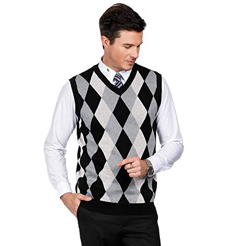 PJ PAUL JONES Mens Casual Sweater V-Neck Golf Vest Argyle Print (XL,White) (Argyle Mens Sweater)