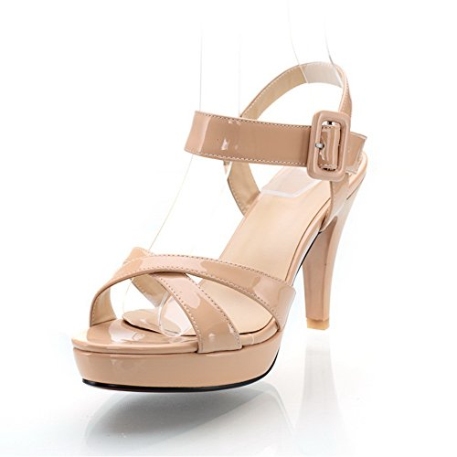 VogueZone009 Womens Open Toe High Heel Stiletto Platform PU Patent Leather Solid Sandals apricot
