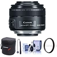 Canon EF-S 35mm f/2.8 Macro IS STM Lens - U.S.A. Warranty - Bundle With 49mm UV Filter, Cleaning Kit, Lens Case, Capleash II
