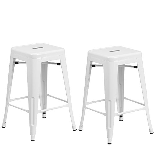 Vogue Furniture Direct 24 High Barstools Backless White Metal barstool Indoor-oudoor Counter Height Stool with Square Seat, Set of 2 – VF1571004