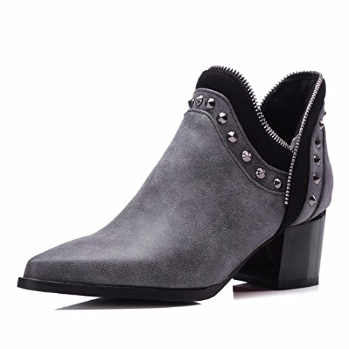 Big size women's shoes, European and American pointed bare boots, metal zippers, and short boots Grey (Terry)